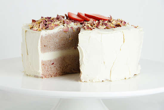 Raw Strawberry Coconut Layer Cake with Rose Frosting